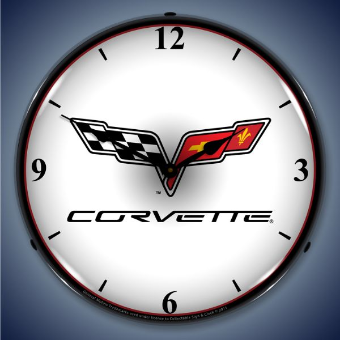C6 CORVETTE LOGO  BACKLIT LIGHTED CLOCK
