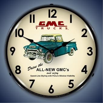 GMC TRUCKS 1956  BACKLIT LIGHTED CLOCK