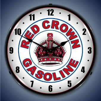 RED CROWN GAS  BACKLIT LIGHTED CLOCK