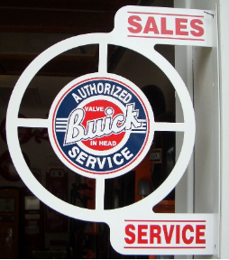 BUICK SALES SERVICE ROUND FLANGE SIGN - WHITE