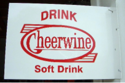 CHEERWINE SOFT DRINK RECTANGLE FLANGE SIGN  - WHITE