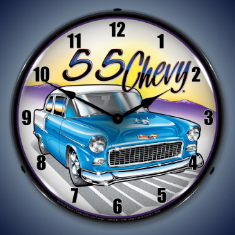 1955 CHEVY BACKLIT LIGHTED CLOCK WITH NUMBERS