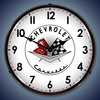 1956 57 CORVETTE  BACKLIT LIGHTED CLOCK