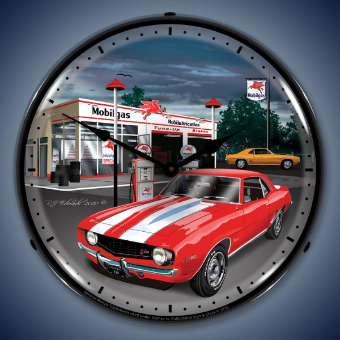 1969 CAMARO MOBILGAS  BACKLIT LIGHTED CLOCK