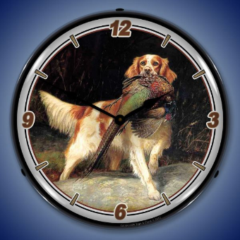 BIRD AND SETTER  BACKLIT LIGHTED CLOCK