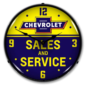 CHEVROLET BOWTIE SALES AND SERVICE BACKLIT LIGHTED CLOCK