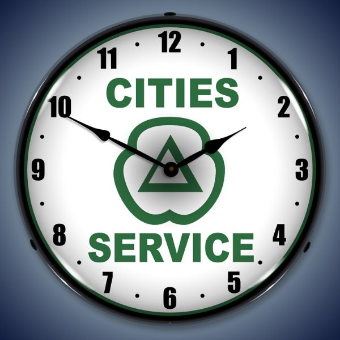 CITIES SERVICES  BACKLIT LIGHTED CLOCK