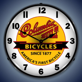 COLUMBIA BICYCLES  BACKLIT LIGHTED CLOCK