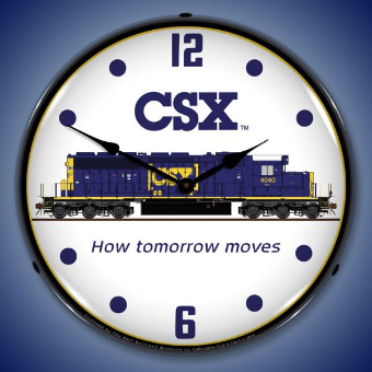 CSX RAILROAD   BACKLIT LIGHTED CLOCK