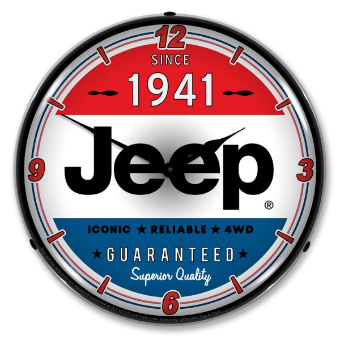 JEEP SINCE 1941  BACKLIT LIGHTED CLOCK