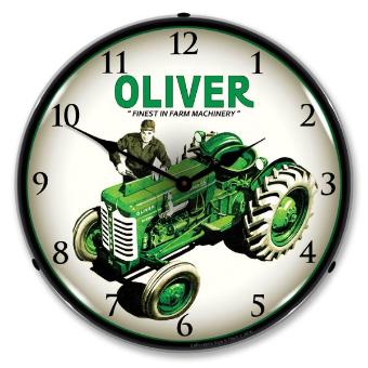 OLIVER  SUPER 55 FARM TRACTOR  BACKLIT LIGHTED CLOCK