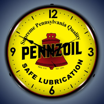 PENNZOIL BACKLIT LIGHTED CLOCK