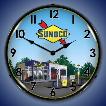 SUNOCO STATION 2  BACKLIT LIGHTED CLOCK