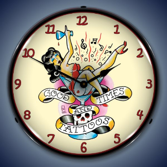 TATTOO GIRL  BACKLIT LIGHTED CLOCK