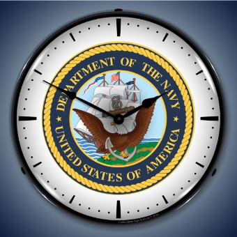 US NAVY BACKLIT LIGHTED CLOCK