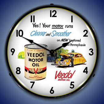 VEEDOL  MOTOR OIL BACKLIT LIGHTED CLOCK