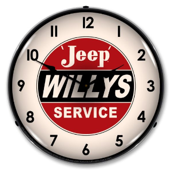 WILLYS APPROVED SERVICE  BACKLIT LIGHTED CLOCK