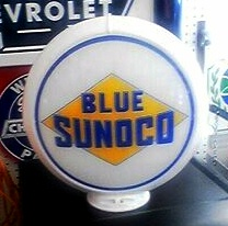 BLUE SUNOCO GAS PUMP GLOBE - NEW FULL SIZE REPRODUCTION