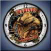 MARINES BULLDOG  BACKLIT LIGHTED CLOCK