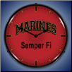 MARINES SEMPER FI  BACKLIT LIGHTED CLOCK