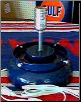 A GAS PUMP GLOBE LAMP STAND IN BLUE