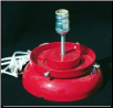 A GAS PUMP GLOBE LAMP STAND IN RED