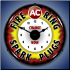 AC FIRE RING  SPARK PLUGS  BACKLIT LIGHTED CLOCK