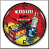 AUTOLITE RESISTOR SPARK PLUGS  BACKLIT LIGHTED CLOCK