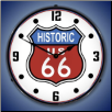 HISTORIC ROUTE 66 BACKLIT LIGHTED CLOCK