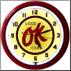 "OK USED CARS  20"" GENUINE NEON CLOCK"